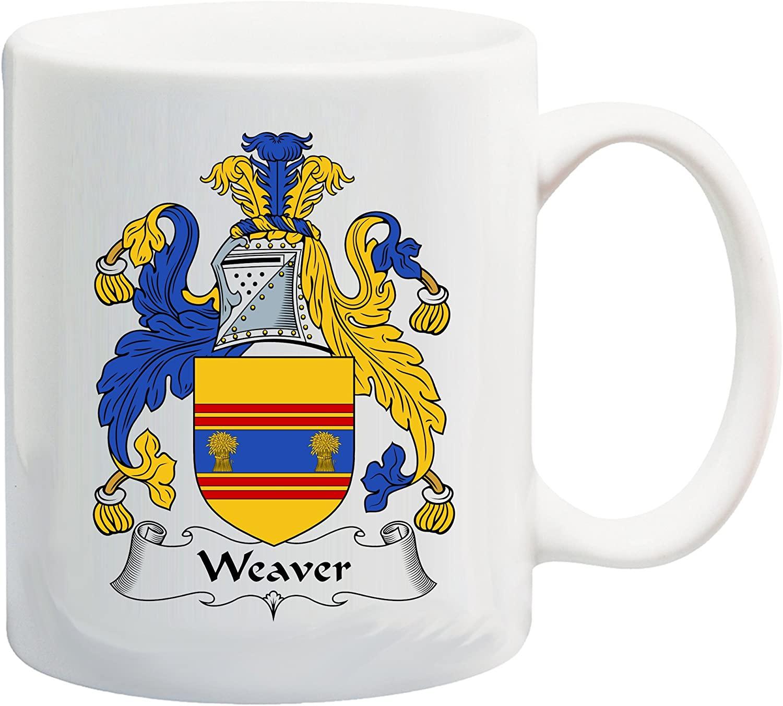 Weaver Coat of Arms/Weaver Family Crest 11 Oz Ceramic Coffee/Cocoa Mug by Carpe Diem Designs, Made in the U.S.A.