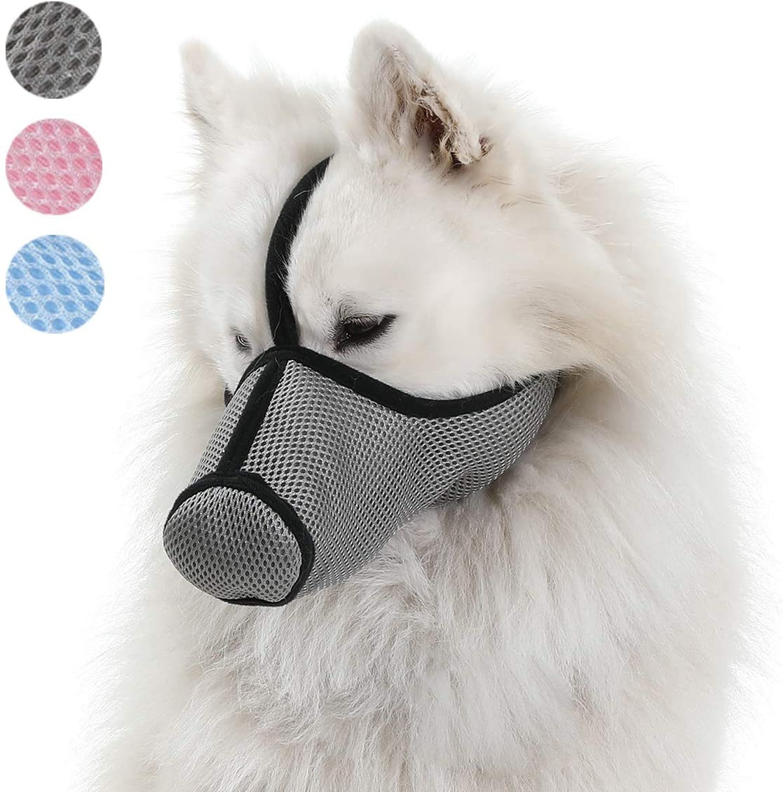 LUCKYPAW Dog Muzzle Protective Mask for Small to Large Dogs Anti-Barking Biting Chewing, Filter Air Pollutants Anti Fog/Anti Dust/Anti Secondhand Smoke, Breathable Adjustable Dog Respirator Mask