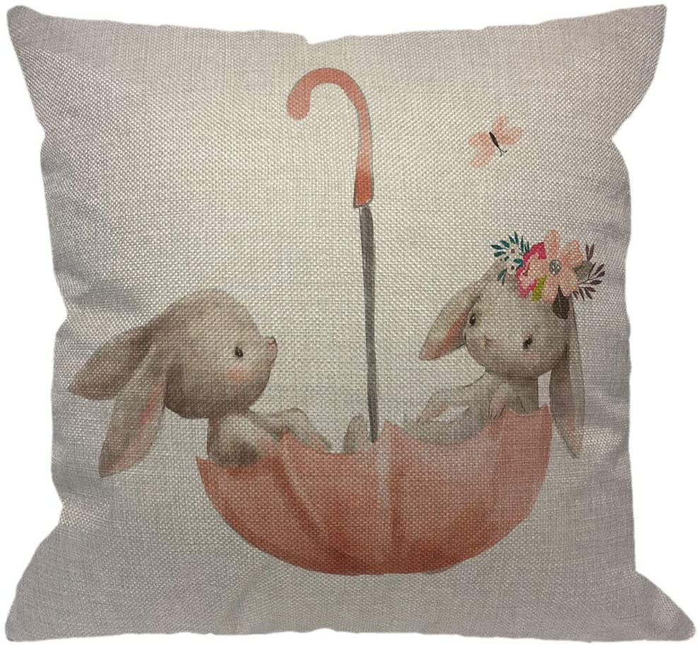 HGOD DESIGNS Hares Throw Pillow Cover,Watercolor Cute Animal Flower Bunny Couple Rabbit Love with Butterfly On Umbrella Decorative Pillow Cases Linen Cushion Covers for Home Sofa Couch 18x18 inch