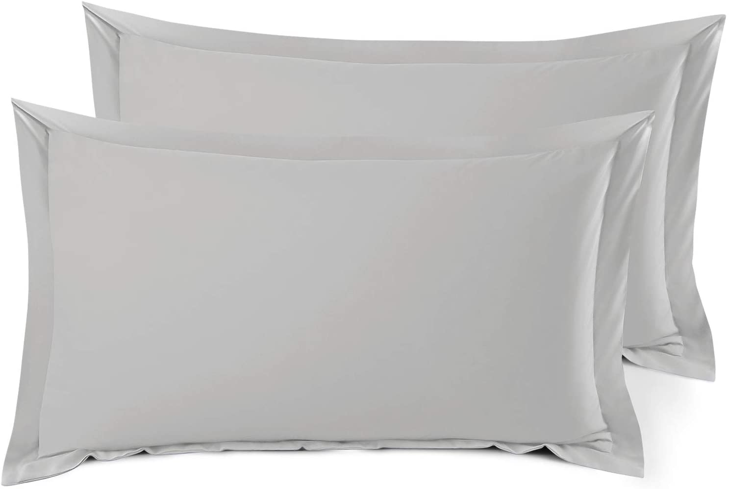 Nestl Bedding Soft Pillow Shams Set of 2 - Double Brushed Microfiber Hypoallergenic Pillow Covers - Hotel Style Premium Bed Pillow Cases, King - Silver
