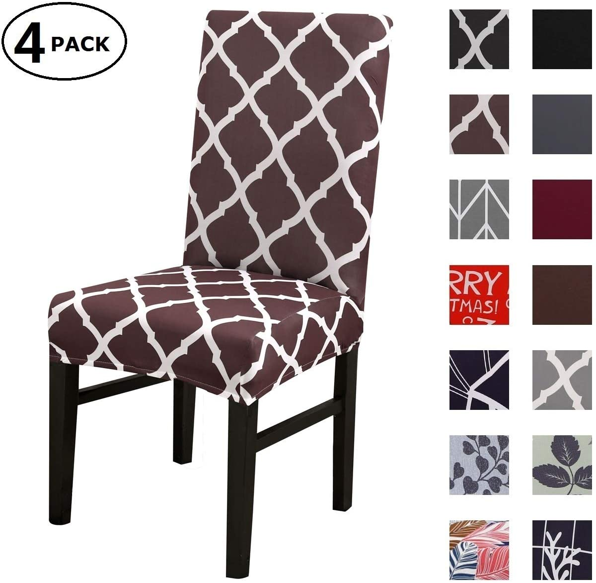 Dining Chair Cover Seat Protector Super Fit Slipcover Stretch Removable Washable Soft Spandex Fabric for Home Hotel Dining Room Ceremony Banquet Wedding Party Restaurant (Color 12, 4 Per Set)