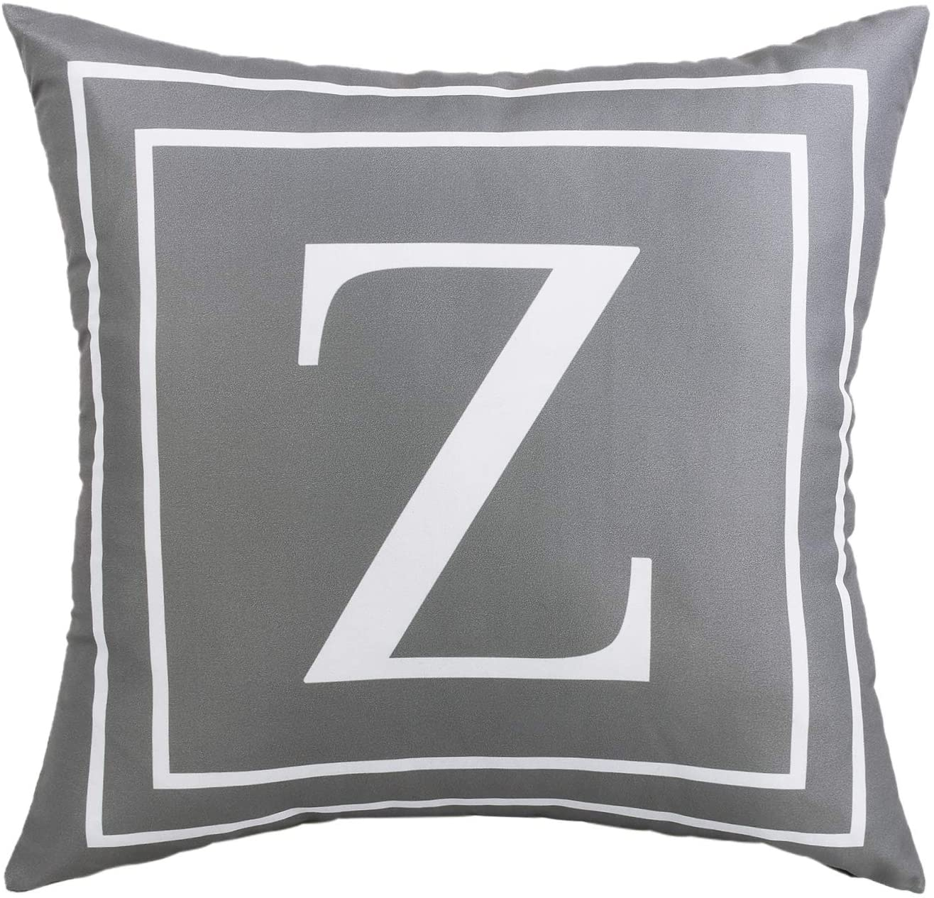 ASPMIZ Throw Pillow Covers English Alphabet Z Pillow Covers, Initial Pillowcases Gray Letter Throw Pillow Covers, Decorative Cushion Cover for Bed Bedroom Couch Sofa (Gray, 18 x 18 inch)