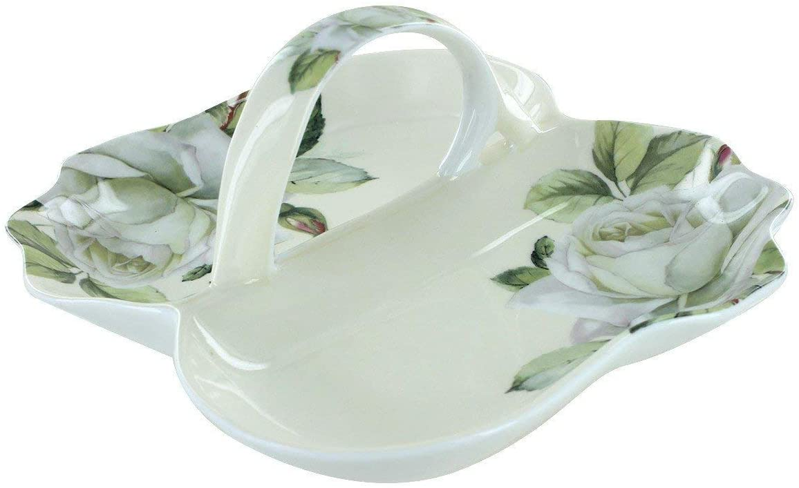 Coastline Imports Iceberg Bone China - Divided Serving Tray - 7in x7.5in