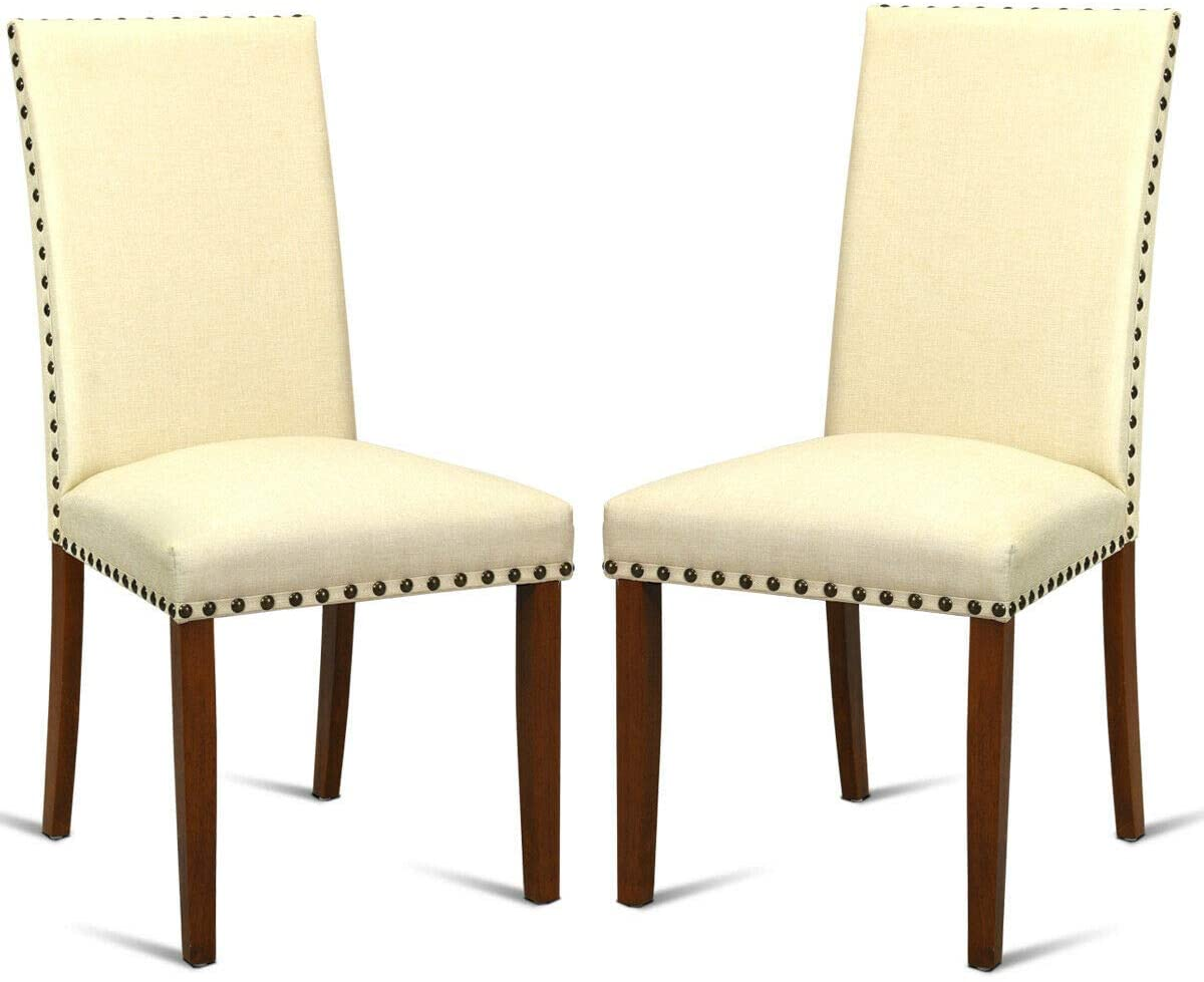 Giantex Set of 2 Fabric Dining Chairs w/Nailed Trim, Upholstered Cushion &Solid Rubber Wooden Legs, Sponge Backrest, Classical Mid Century Style, 2 PCS Armless Side Chairs, Beige