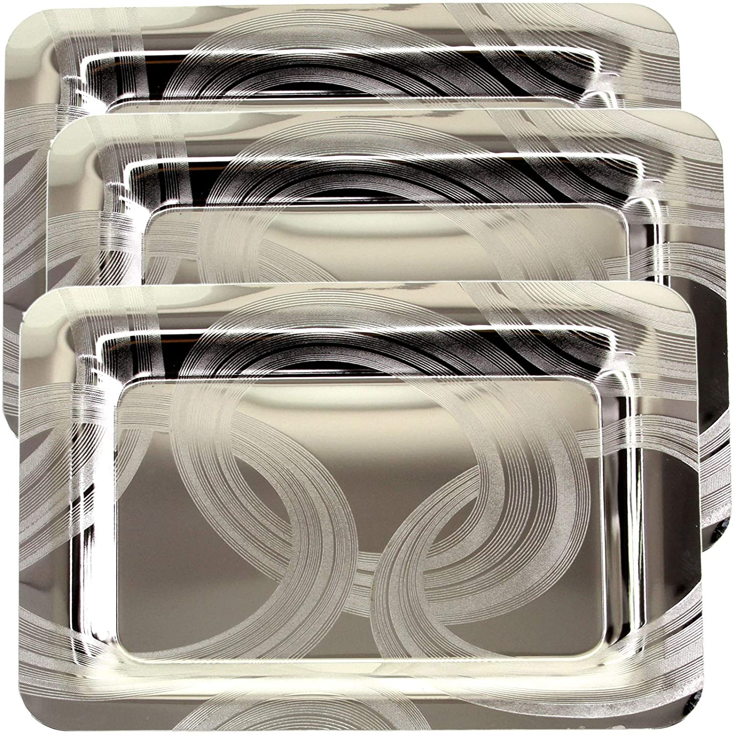 Maro Megastore (Pack of 3) 15.7 Inch x 11 Inch Oblong Chrome Plated Mirror Serving Tray Stylish Brush Paint Engraved Edge Decorative Party Birthday Wedding Dessert Buffet Wine Platter Plate CC-839