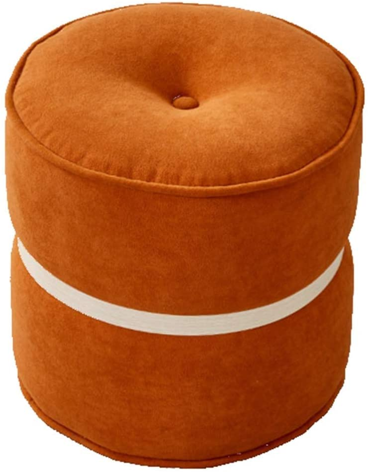 Footstool Step Stools Low Stool Stool Foot Dressing Stool Fabric Chair Makeup Stool Round Stool Change Shoe Bench Household Small Stool HENGXIAO (Color : Orange)