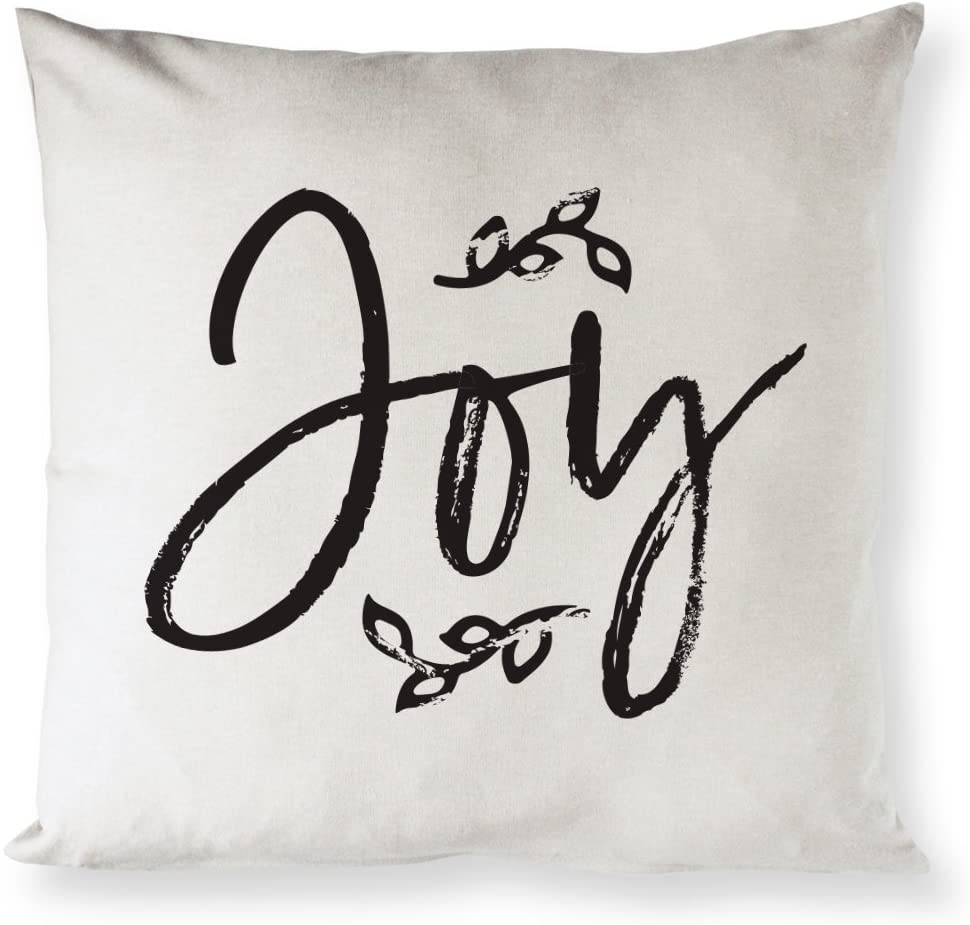 The Cotton & Canvas Co. Joy Christmas, Holiday Home Decor Pillow Cover, Pillowcase, Cushion Cover and Decorative Throw Pillow Case (Natural Color, Not White)
