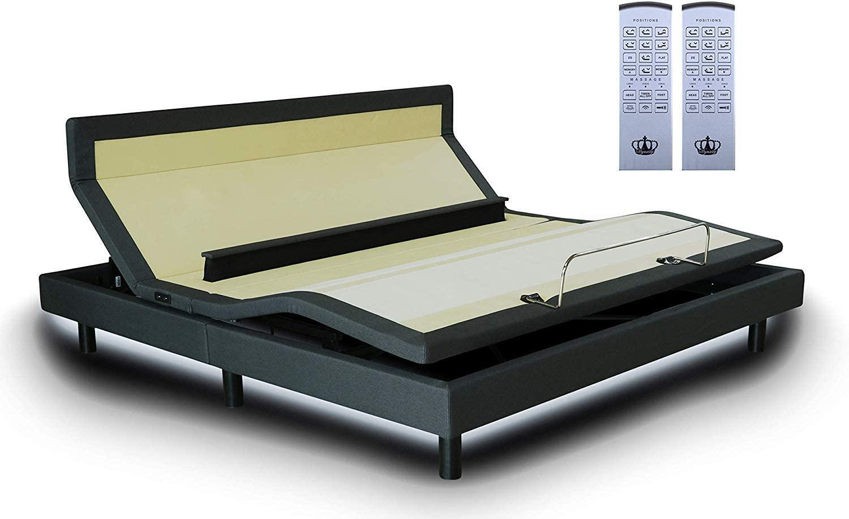 DynastyMattress King Adjustable Bed Frame with Custom Head Tilt, Massage, Zero-Gravity, Bluetooth & USB Ports + Memory Foam Mattress Set