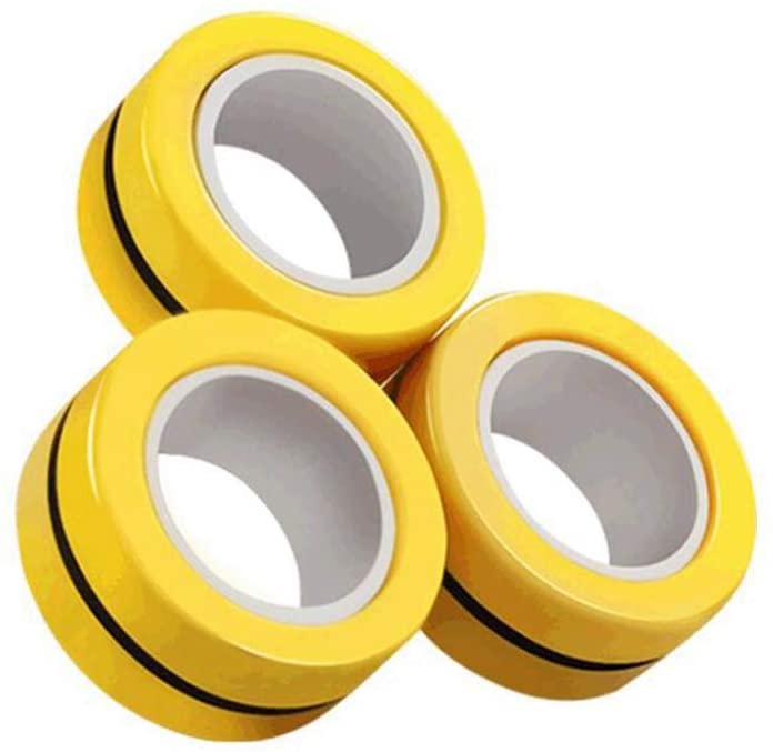 BINGLALA Finger Magnetic Ring, Magnet Toy, Magnetic Fingertip Toys, Decompression Magnetic Magic Ring, Magnetic Game, Magic Toy, Magnetic Bracelet, Durable Unzip Toys (3Pcs-Yellow)