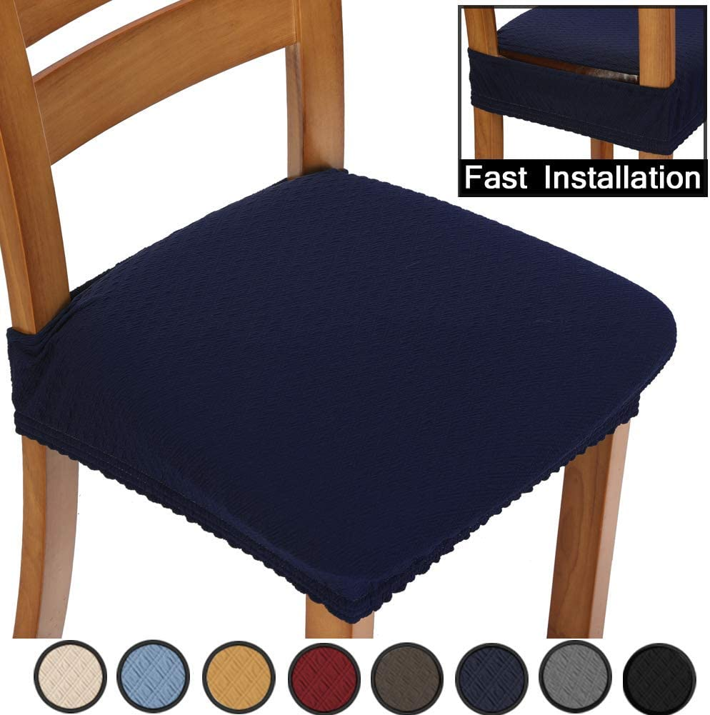 BUYUE Chair Covers Jacquard Stretch Seat Covers for Dining Room Upholstered Armless Chairs Slipcovers, Universal, Set of 2, Navy Blue