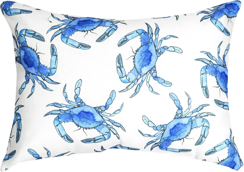 ArtFuzz Blue Crab Rectangle Pillow 18X13