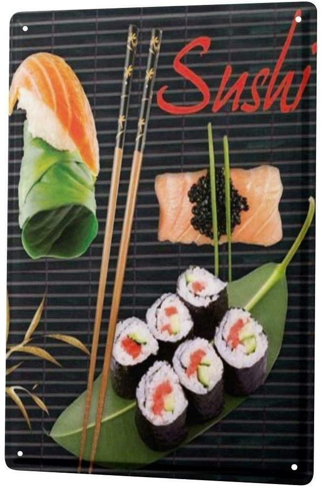 Tin Sign Retro Wall Art Japan Sushi Chopsticks Metal Wall Décor Plate 8