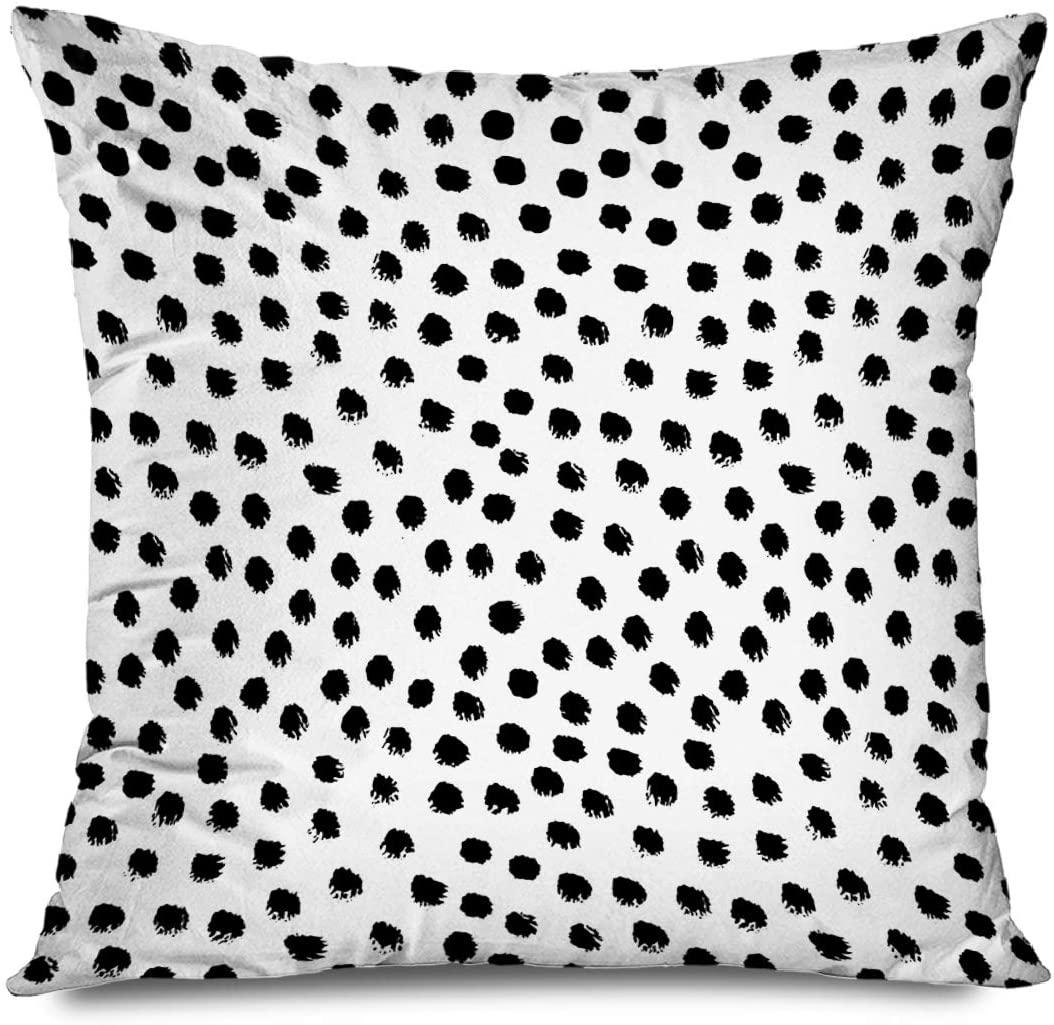 FAREYY Abstract Pillowcase Brush Strokes Dots Polka Dots Black Decorative Throw Pillows Cushion Cover for Bedroom Sofa Living Room 20 x 20 Inches