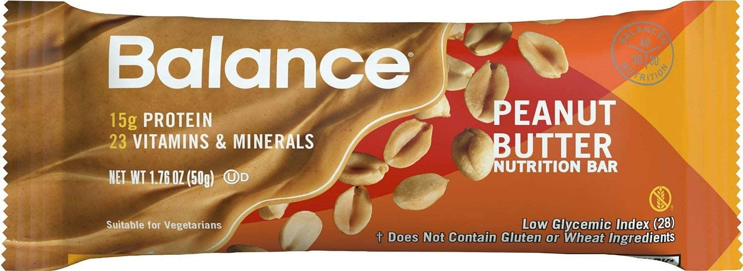 BALANCE Bar Healthy Protein Snacks, Peanut Butter, with Vitamin A, Vitamin C, and Vitamin D to Support Immune Health, 1.76 oz, 6 Count