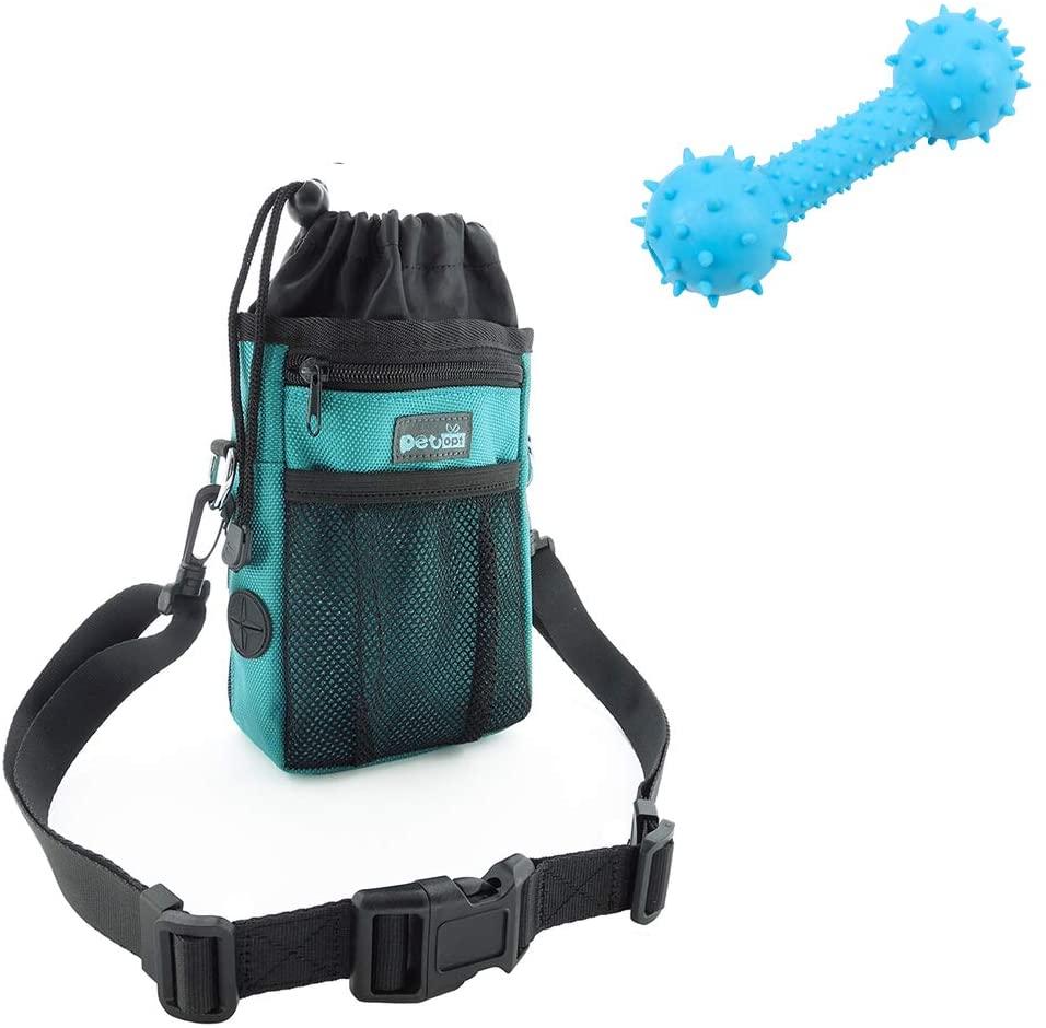 Petopt Pet Treat Pouch Bag Dispenser with Adjustable Waist Belt&Shoulder Strap Pet Training Clicker