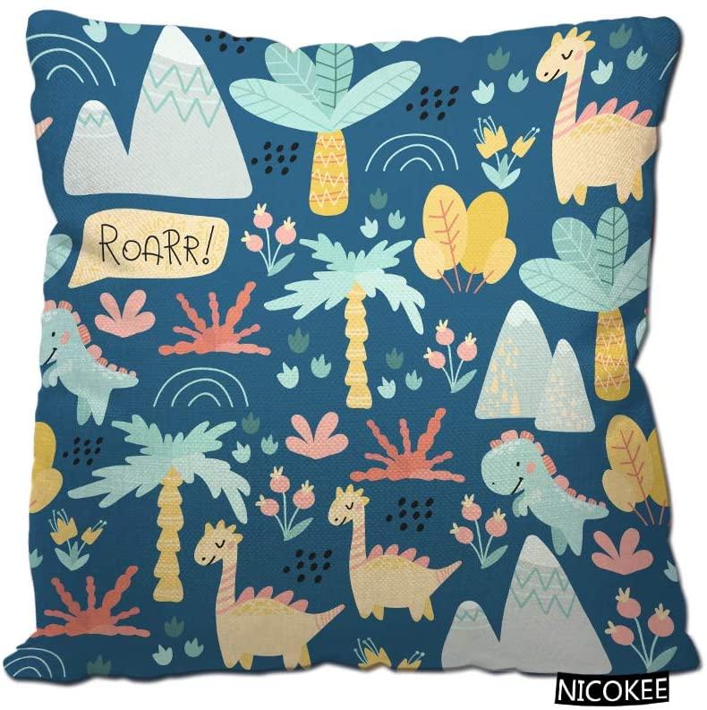 Nicokee Dinosaurs Throw Pillow Case Prehistoric Period Cartoon Scandinavian Cute Childish Blue Dinosaurs Cotton Linen Fashion Printed Throw Pillow Cover for Home Decor, Sofa, Coffee Shop