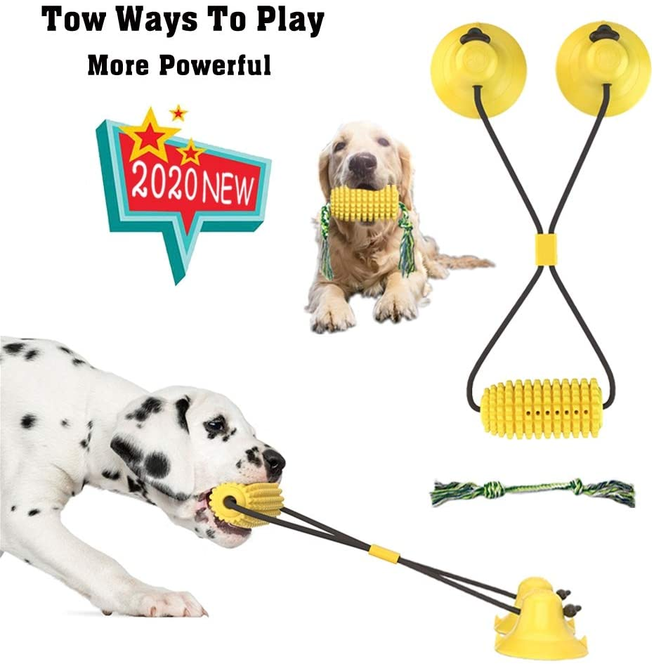 RJDJJXGZ 2020 NEW 2 IN 1 Two Uses Dog Toys Interactive Double Suction Cup Corn Dog Toy for Tug of War Dog Chew Toys Dog Rope Toys Dog teeth Cleaning Dog Puzzle Toys Tooth Brush for Dogs Dog Treat Toys