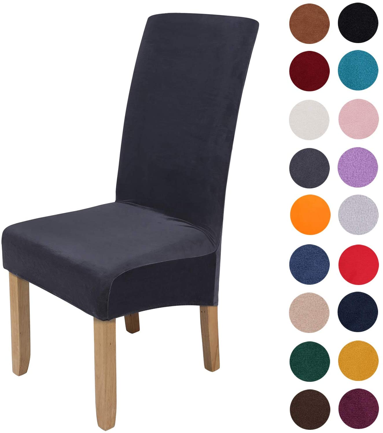 Colorxy Large Velvet Spandex Chair Covers for Dining Room Set of 6, Soft Stretch Chair Protectors Slipcovers, Removable and Washable, Dark Grey