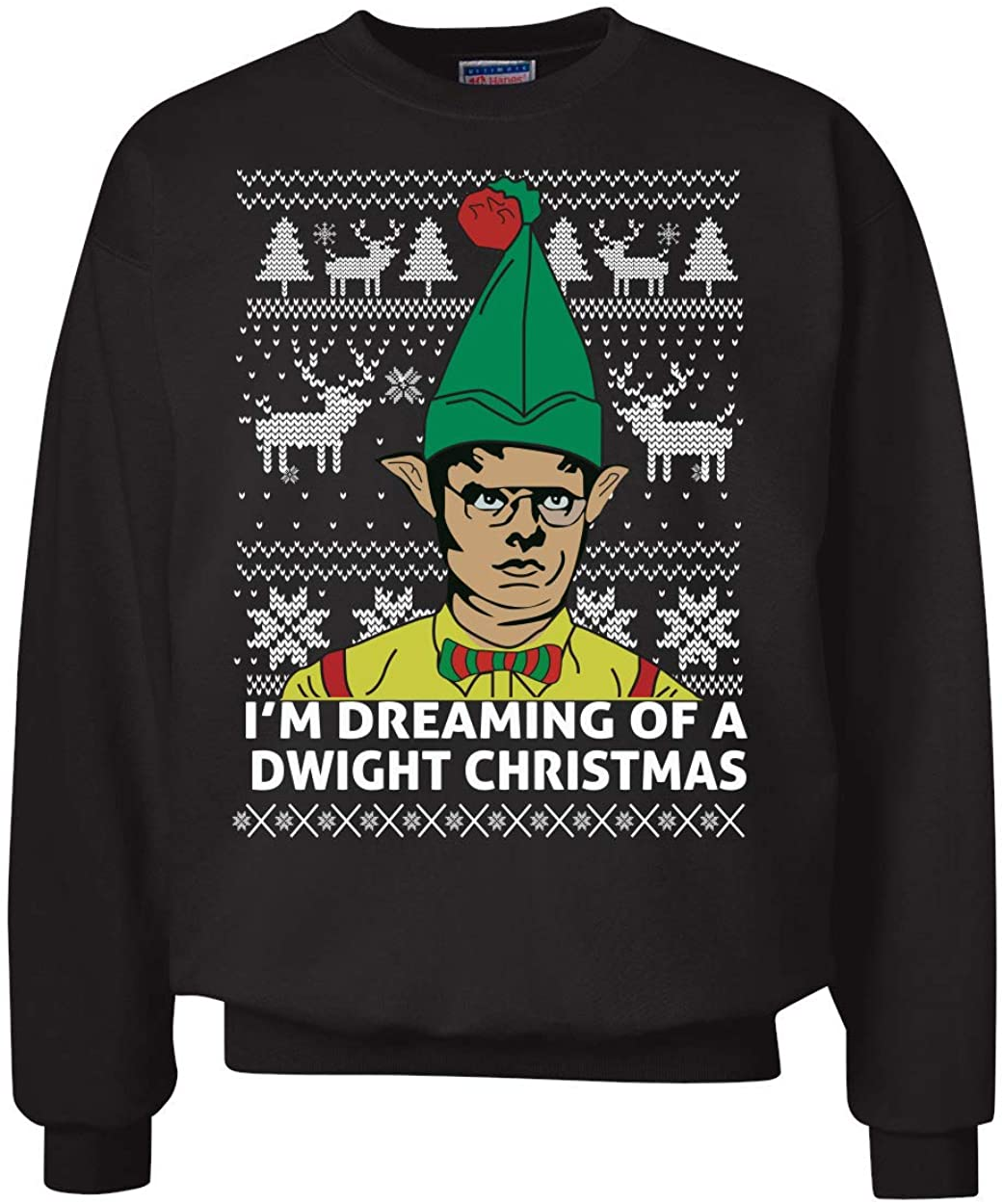 Wild Bobby I'm Dreaming of a Dwight Christmas The Office Schrute Funny   Mens Ugly Christmas Sweater Crewneck Sweatshirt