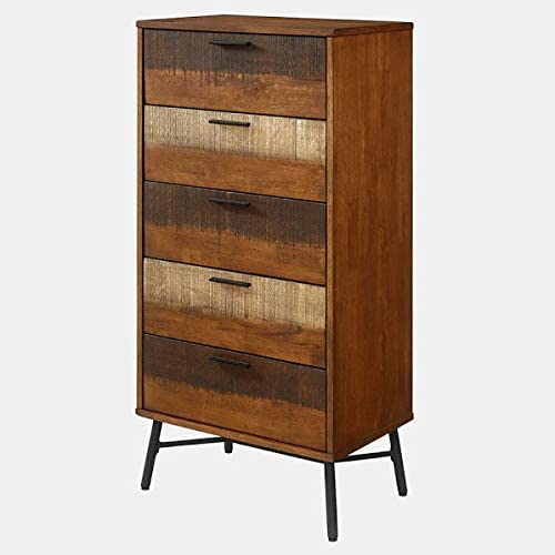 Chest with Metal Ball Bearing Glides - Wood Dresser with 5 Soft Close Drawers - Walnut