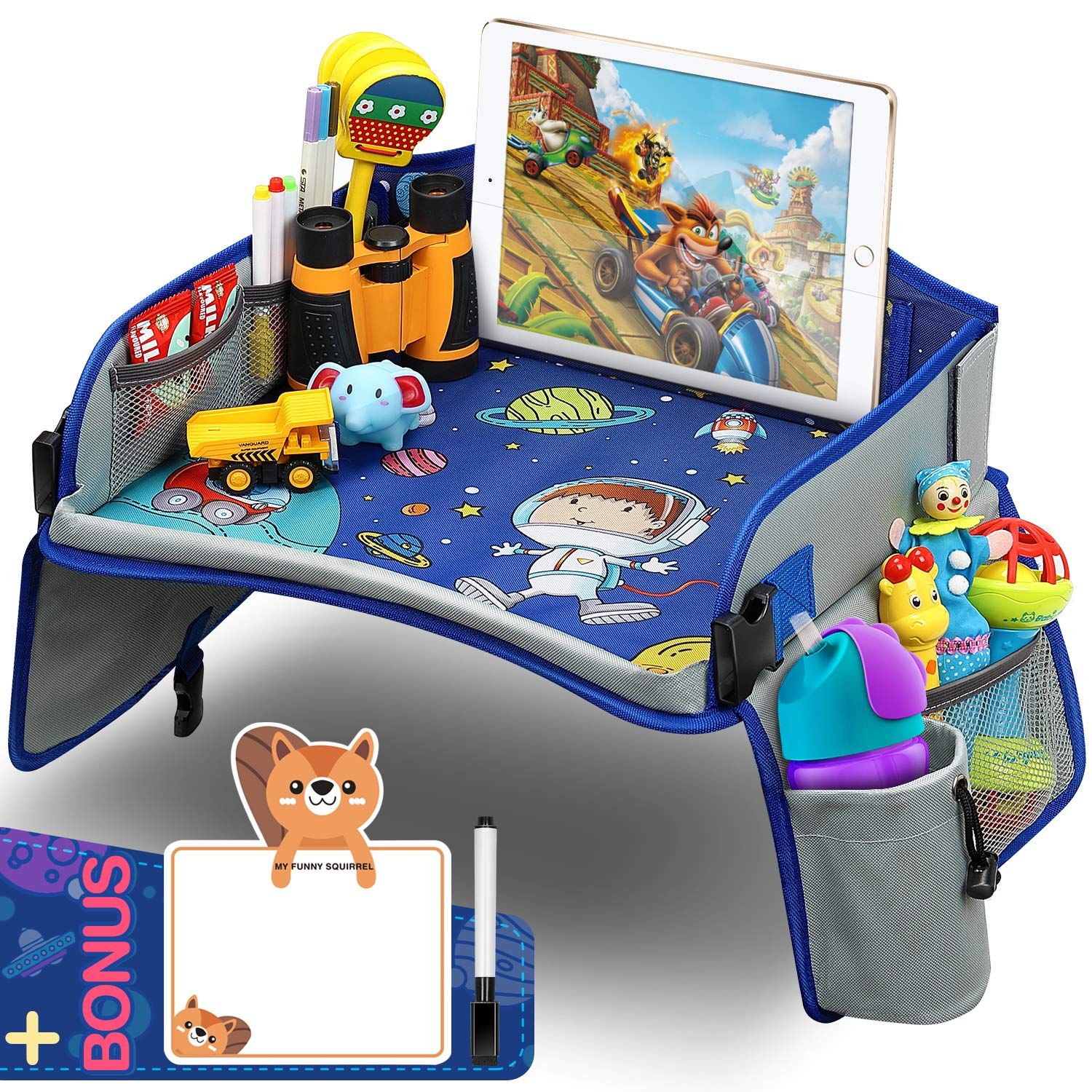 Kids Travel Tray, Car Seat Travel Tray With Colorful Space Top Toddler Car Seat Activity Tray More Organizer Pockets Large iPad & Cup Holder CarSeatTable For Stroller Airplane