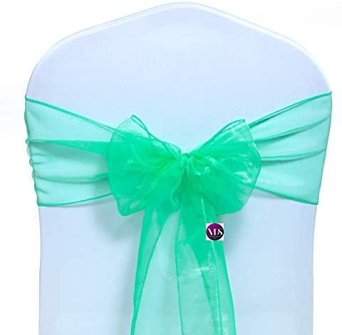 VDS - 10 PCS Elegant Organza Chair Sashes Bows Chair Back Tie Ribbon for Wedding Party Banquet Decor - Mint