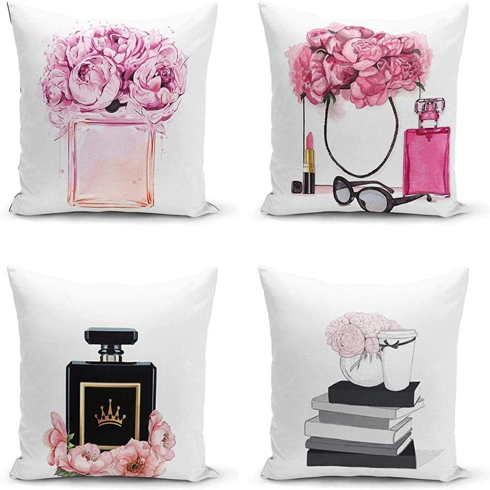 Pink Flowers Throw Pillow Covers Set of 4 - Floral Throw Pillowcase - Lady Glam Perfume Bottle Cushion Covers - Fashion Pillowcover Sunglasses Pillow Cases - Modern Pillow Covers 18x18