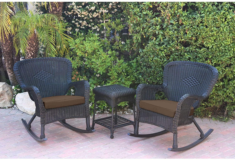 3-Piece Black Rocker Outdoor Furniture Patio Conversation Set with Brown Cushion 35.5
