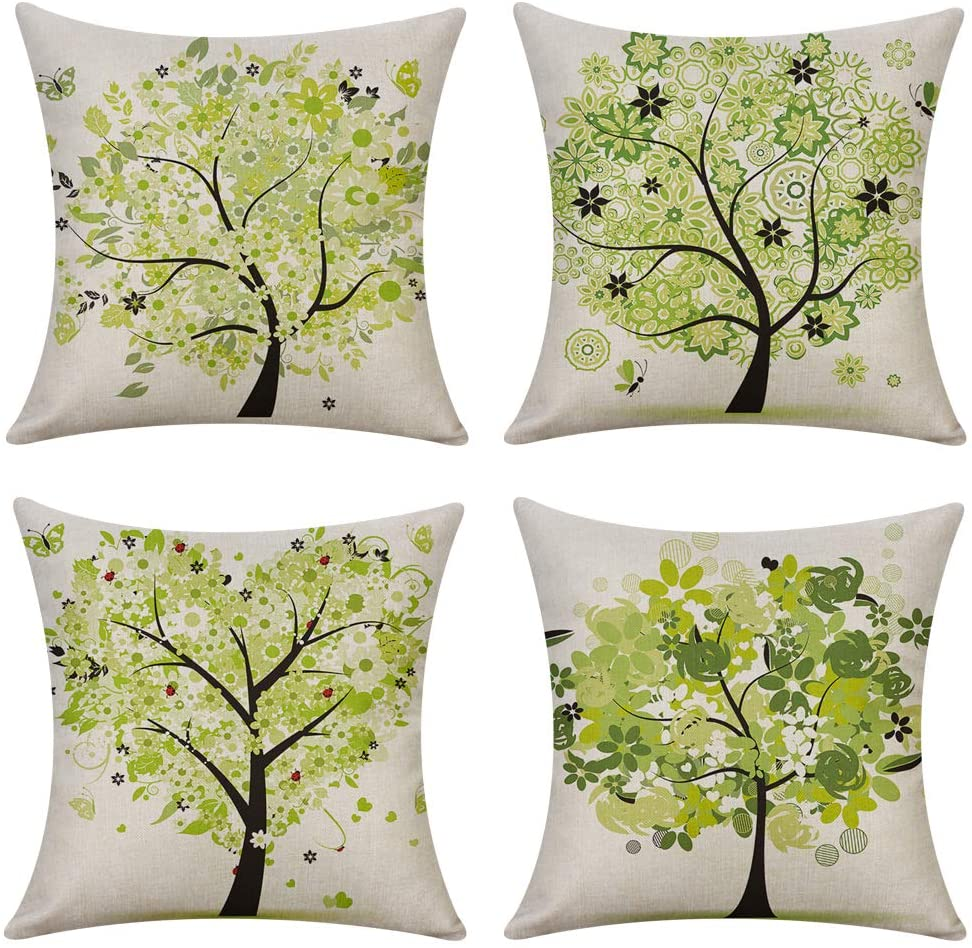 Woaboy Set of 4 Cotten Linen Pillow Cover Green Different Shaped Trees Printed Pillowcase Square Decorative Cushion Cover Soft for Car Sofa Bed Couch Living Room 18 x 18Inch 45 x 45cm