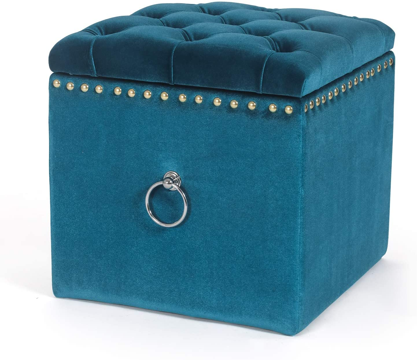 Joveco 17'' Storage Ottoman Cube- Blue Tufted Ottoman with Storage- Foot Stools and Ottomans Small- Velvet Fabric Ottomans with Rivet for Chair Coffee Table Ottoman Footrest- Elegant Soft Microfiber