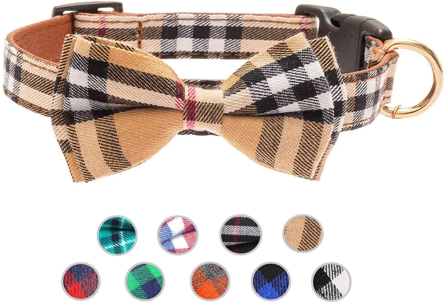 Lysa Dog Collar and Cat Collar,with Detachable Adjustable Bowtie,Gentlemanly Style, British Style Plaid Bowtie-Quality PU Leather and Durable Polyester-Plastic Buckle Light