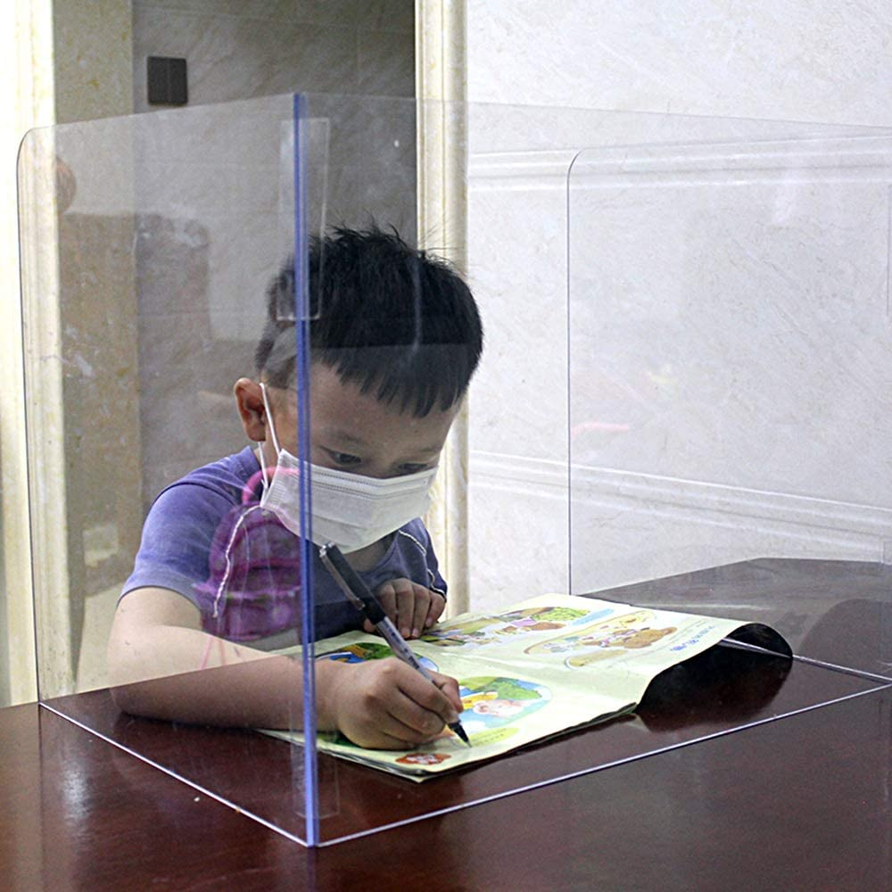 Plexiglass Shield Transparent Student Desk Anti-Sneezing Isolation Baffle Divider partition Dining Room partition Screen Transparent Acrylic Protective Shield L24 XW16 XH16