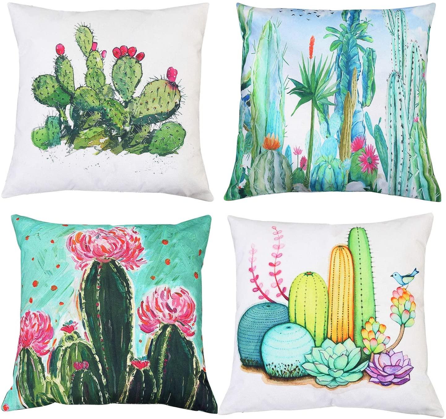 MeritChoice Succulent Pillow Cactus Pillow Cactus Throw Pillow Cactus Pillow Cover Print Double Sided Decorative Pillow Covers Set of 4 Cotton Linen 18 x 18 Inch
