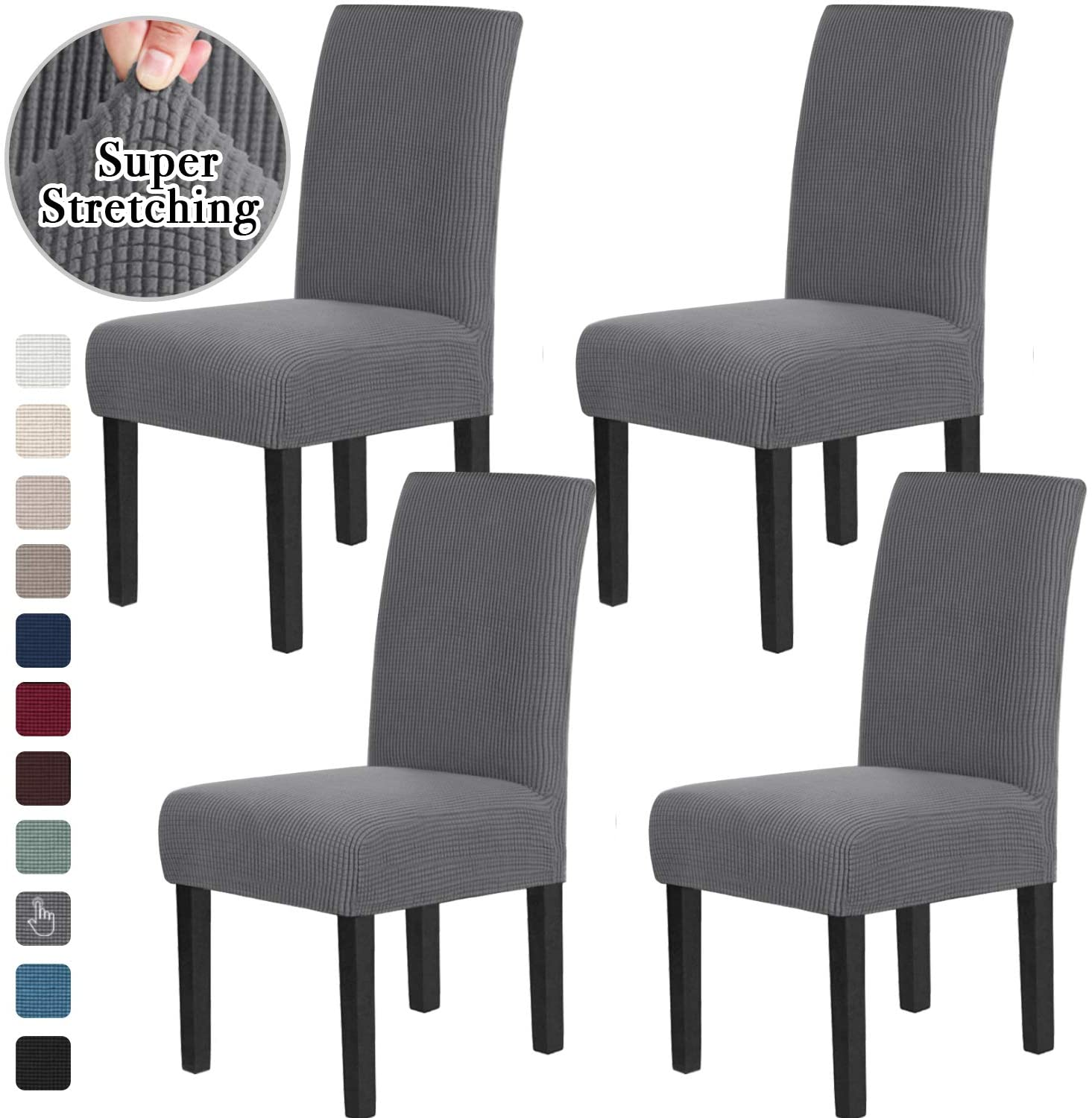 Chair Covers for Dining Room Stretch Dining Chair Covers Chair Cushions for Dining Chairs Super Fit Dining Chair Protector Removable Washable Chair Covers Set of 4, Gray