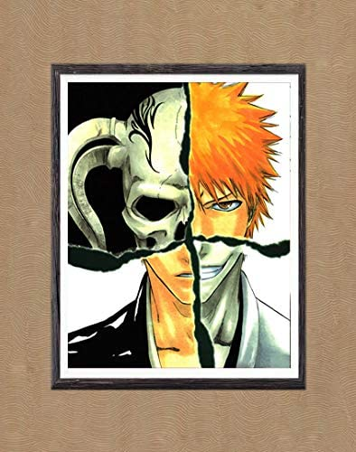 MS Fun Bleach Original Anime Poster Wall Picture Hollow Ichigo Digital Canvas Art Print,8 x 10 Inches,No Frame