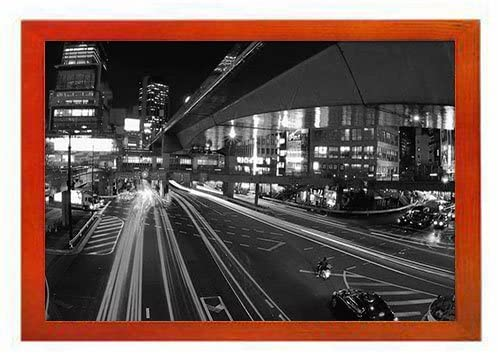 PUPBEAMO Tokyo City Of Japan. - Art Print Picture Frame Photo Frames Made of Solid Wood For Table Top (Walnut,9x7 Inches)