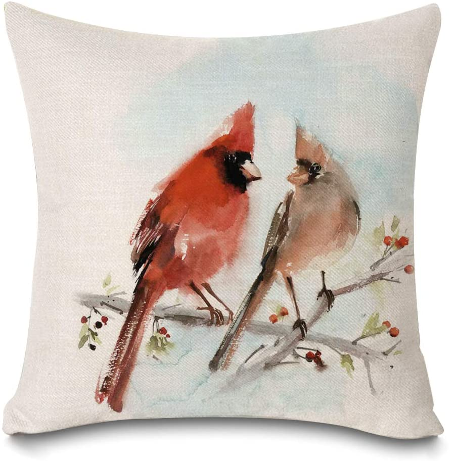 Faromily Rustic Farm Birds Pillow Covers Tree Leaves Country Decorative Home Decor Cushion Covers Throw Pillow Cases Cotton Linen 18 x 18 inch