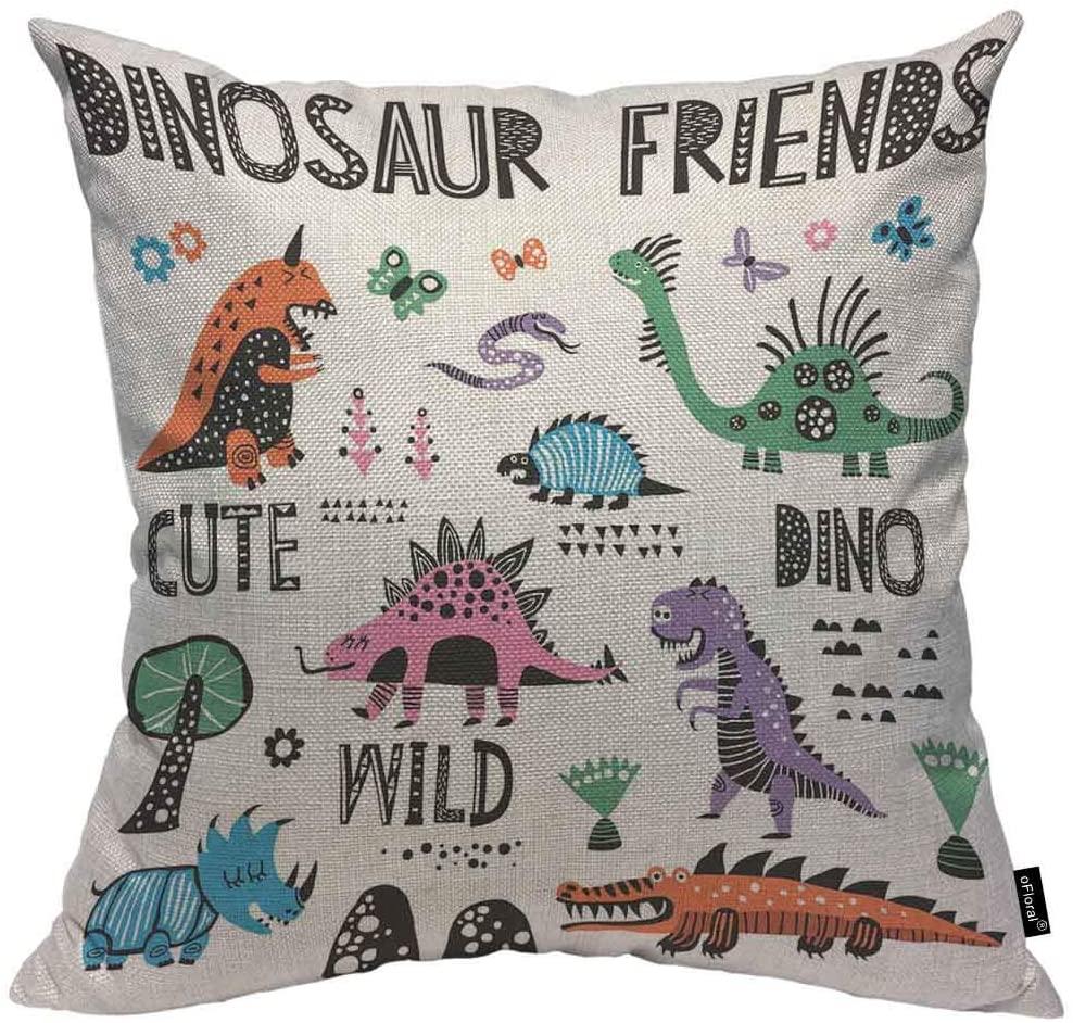 oFloral Dinosaur Friends Cotton Linen Throw Pillow Case Wild Animals Pillow Cushion Cover Home Sofa Decorative 20 X 20 Inch