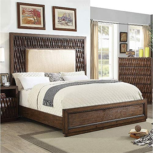 Furniture of America Ruma Wood California King Padded Panel Bed in Warm Chestnut