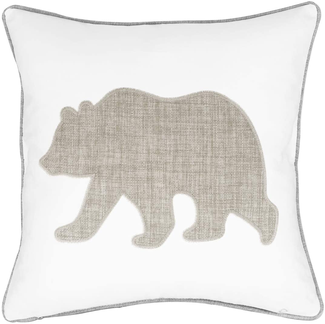 Millianess Animal Cotton Throw Pillow Covers Bear Pattren Embroidered 18x18 Inches for Couch Cushions Covers (White)