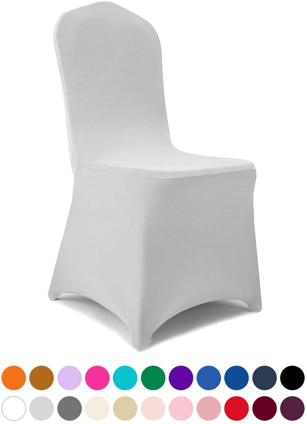 Peomeise 12pcs Stretch Spandex Chair Cover for Wedding Party Dining Banquet Event (Sliver, 12)