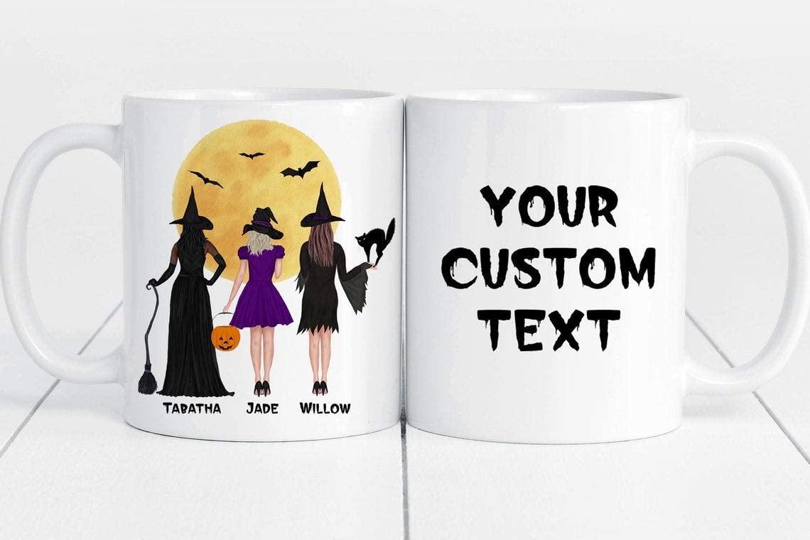 Nalips Halloween Witch Best Friend Gifts Personalized Gift Custom Halloween Mug Custom Witchs Mug (Mug 11 oz)