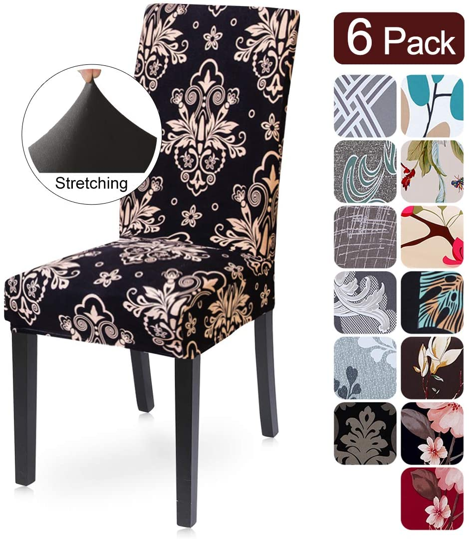 Dining Room Chair Covers Slipcovers Set of 6, Spandex Fabric Fit Stretch Removable Washable Kitchen Chair Covers Protector for Dining Room, Hotel, Ceremony (Pattern12, 6 per Set)