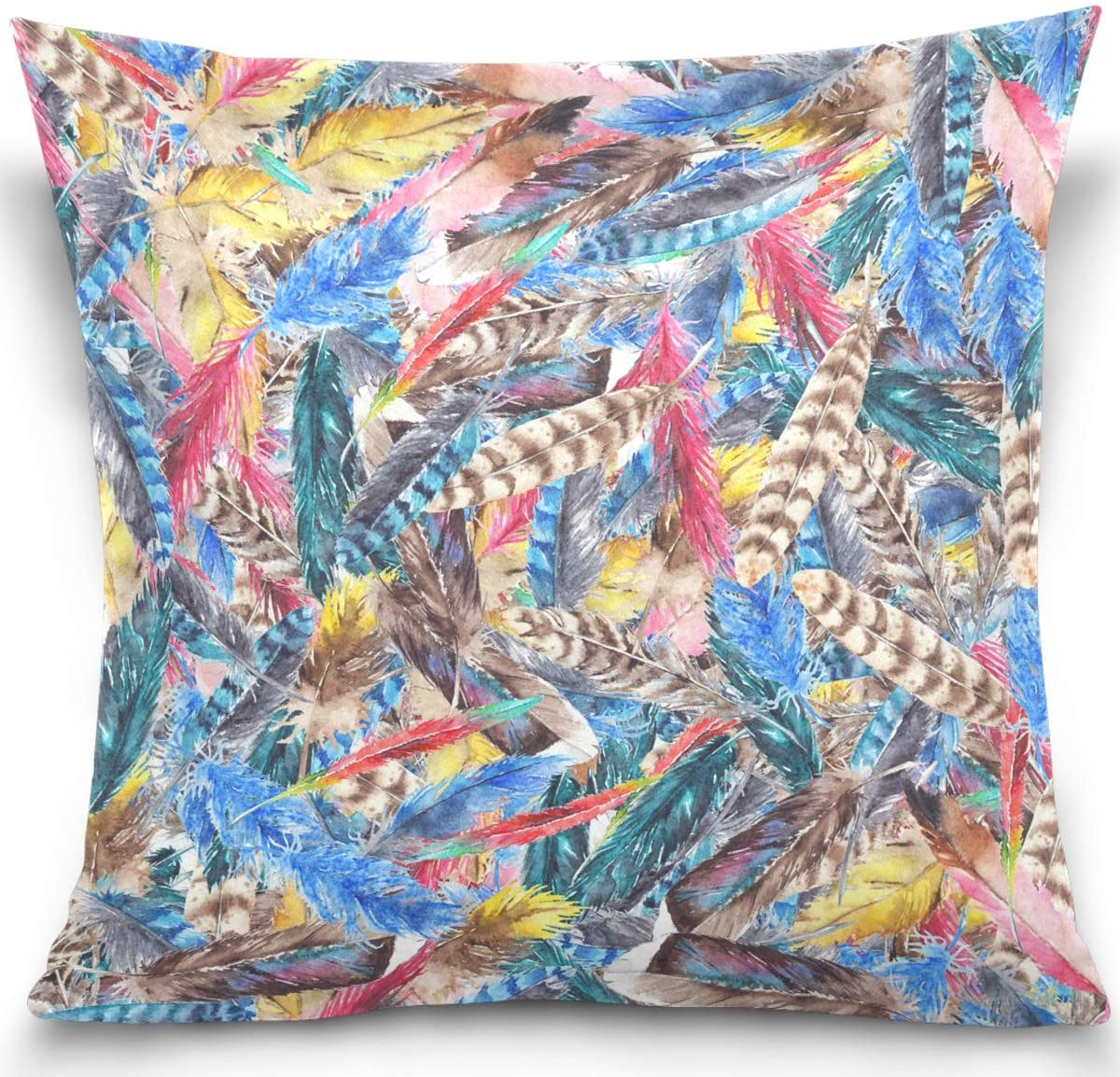 Olinyou Vintage Indian Feather Colorful Throw Pillow Cases Decorative Square Pillowcase Cushion Cover 16 x 16 Inch