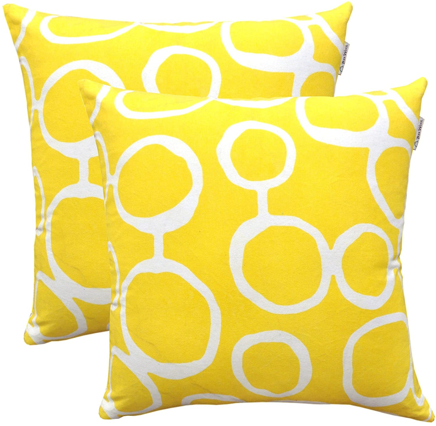 TreeWool, Pack of 2, Throw Pillow Cover Ringo Accent 100% Cotton Decorative Square Cushion Cases (18 x 18 Inches / 45 x 45 cm; Yellow)