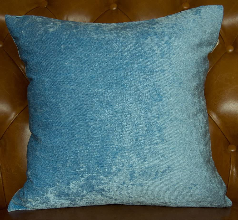 TangDepot Handmade Solid Heavy Chenille Decorative Throw Pillow Covers, Euro Pillow Shams, European Throw Pillow Covers, Indoor/Outdoor Cushion Covers - (26x26, Azure Blue)