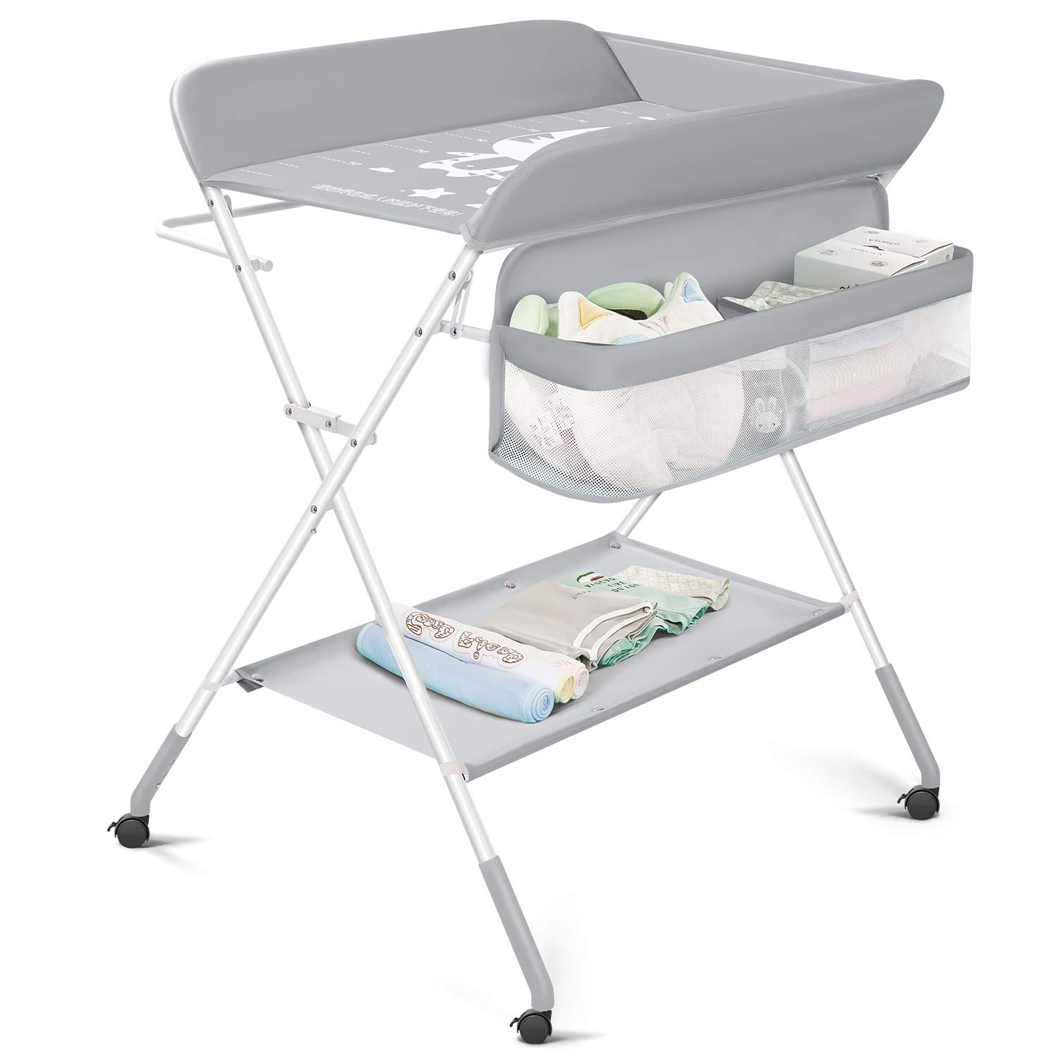 Lucky Link Infant Changing Table Folding with Wheels, Safety Strap, Storages Baskets, Baby Diaper Station Nursery Organizer, Light Grey
