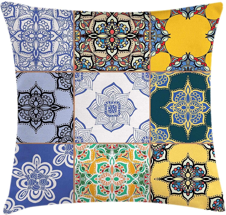 Ambesonne Moroccan Throw Pillow Cushion Cover, Portuguese Tile Patterns Various Tones Textures Bohemian Print, Decorative Square Accent Pillow Case, 18