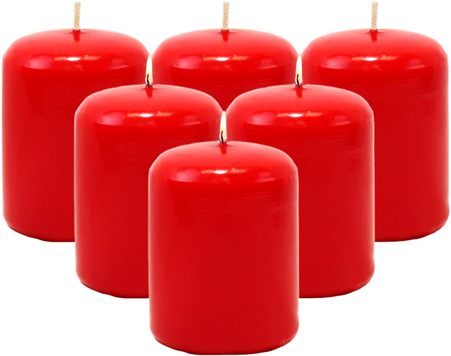 CandleNScent 3x4 Red Pillar Candles Unscented (Pack of 12)