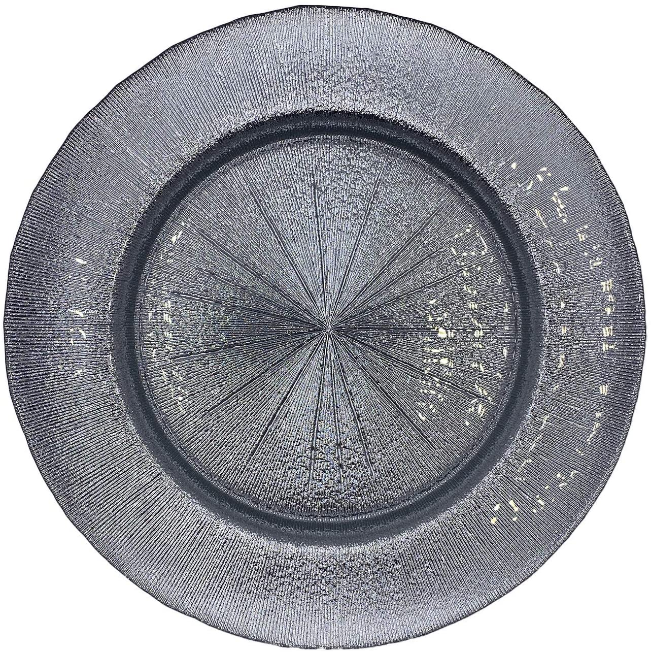 Urquid Linen, Metallic Glass 13 Charger Plate, Set Of 4, Use for Elegant Wedding Décor, Luxe Dinner Parties and Special Events, and Any Elegant Occassion (Silver)
